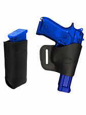 Barsony Black Leather Yaqui Gun Holster w/Mag Pouch for Taurus Full Size