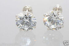 14k White Gold Basket Set Round CZ Cubic Zirconia Screwbacks Stud Earrings