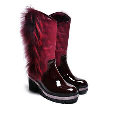 Woman  Fashion Low Heel Patent Leather Ankle Western Cowboy Army Combat Boots