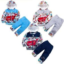 Baby Boys Warm Jacket Winter Hoodies+Pant 2Pcs/Set Coat McQueen Car 3-24M Outfit