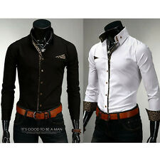 Korean Men's Fitted Long Sleeve Button-Down Dress Shirt Casual Tops Solid S-XL