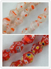 50 Millefiori Glass Faceted Bicone Beads 8x10mm 2colors-1 P401 P402