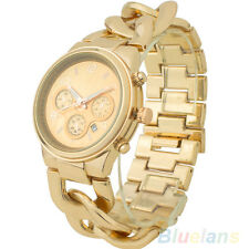 Stylish Colors Womens Fashion Stainless Steel Band Quartz Date Wristwatch
