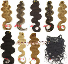 Curly Wavy Clip in Remy Human Hair Extensions Full Head GOOD100% Real Body Wave