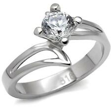 Women's Stainless Steel Round Solitaire CZ Promise Engagement Wedding Ring