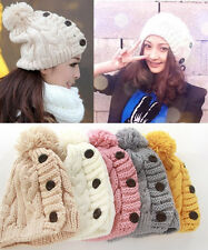 4 Colors Women Button Hats With Tassel Winter Knitted Caps Free Size
