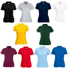 New Fruit of the Loom Womens Fitted Polycotton Polo Shirt 10 Colours XS-XXL