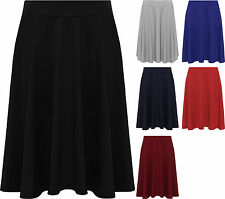 New Womens Plus Size Plain Flared Elastic Waist Ladies Short Skater Skirt 14-28