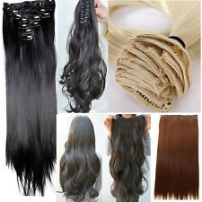 "20"" 22"" 24"" Plenty Style full head clip in hair extensions straight curly bangs"