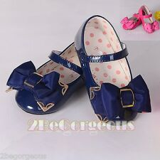 Bow Mary Janes Shoes Size UK 5.5-12 EU 22.5-30 Wedding Flower Girl Party GS013