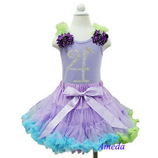 Lavender Blue Pettiskirt Rhinestone 4th Birthday Tank Top Ariel Party Dress Tutu