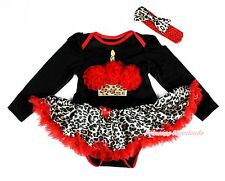 XMAS Red Birthday Black Long Sleeve Bodysuit Red Leopard Baby Girl Skirt NB-18M