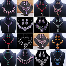 Bridal Elegant Flower Crystal Rhinestone Necklace Earrings Wedding Jewellery Set