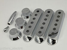 CHROME PICK UP COVERS 52mm or 50mm Pole to pole, KNOBS & TIPS for Stratocaster