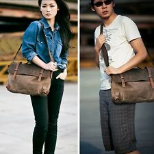 Hot Vintage Men Women Canvas Real leather Handbag Messenger Briefcase Laptop Bag