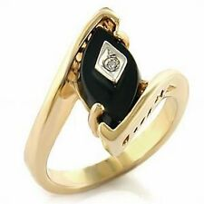 Women's Genuine Marquise Cut Black Onyx & CZ Solitaire Gold ION Wave Ring