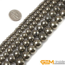 """Natural Silver Gray Pyrite Gemstone Round Beads 15"""" 3mm 4mm 6mm 8mm 10mm 12mm"""
