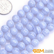 "Natural Blue Chalcedony Gemstone Round Beads For Jewelry Making 15"" 6mm 7mm 8mm"