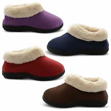 NEW LADIES COOLERS WINTER SLIP ON MULES SOFT FURRY WARM SLIPPERS SIZES UK 3-8