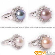 9-10mm cultured pearl gold plated with rhinestone fashion ring US size #6-#8
