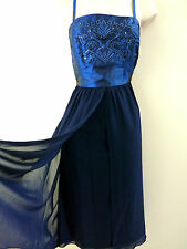 NEW TOGETHER DRESS RETRO VTG 50'S NAVY BLUE BEADED SEQUINS PARTY SZS 10 16 20