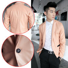 New Men's Stylish Fashion PU Leather Slim Fit Formal Dress Blazer IN Candy Color