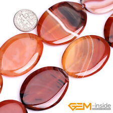 Coin&Oval Banded Stripe Sardonyx Red Agate Gemstone Beads For Jewelry Making 15""