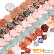 Natural 14mm Carved Gemstone Double Flower Beads For Jewelry Making Strand 15""