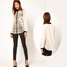 Lapel Collar Leiothrix Chiffon Long Sleeve Womens Shirt Tops Blouses S/M/L