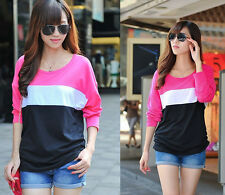 Ladies Casual Striped Round Collar Long Batwing Sleeve T-Shirt Top Blouses Tee