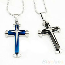 Blue Black Silver Stainless Steel Cross Pendant Mens Cristian Necklace Chain BF4