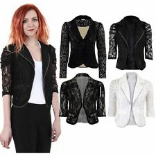 Ladies 3/4 Sleeve Lace Lined Frill Gathered Shoulder Zip Women's Smart Jacket
