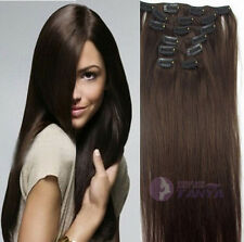 """16""""20""""24""""Remy Real Clip In Human Hair Extensions 60g80g100g120g140g #2Dark Brown"""
