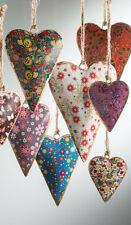 Vintage Chic Floral Design Metal Hanging Hearts Christmas Tree Decorations