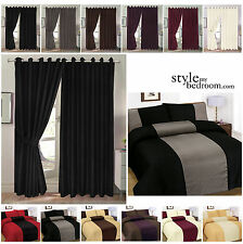Fully Lined Jacquard Diamond Detail Curtains + Free Tie Backs or Duvet Cover Set