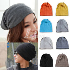 Unisex Winter Cotton Solid Plicate Baggy Slouchy Plain Beanie Cap Hat