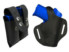 NEW Barsony Black Leather Pancake Holster+Dbl Mag Pouch Kel-Tec Comp 9mm 40