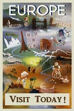 Europe Visit Today Italy France Spain England Rome Vintage Poster Repro FREE SH