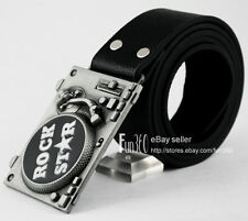 ROCK STAR Classic Recoed Player DJ Turn Table Muisc Buckle Leather Belt Mens