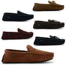 NEW MENS REAL LEATHER WARM FUR LINING COMFY DUNLOP MOCCASIN SLIPPERS SIZE 7-11