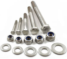 M8 A2 STAINLESS PART THREADED BOLT SCREW + NYLOC NUT & WASHERS, HEXAGON HEX HEAD