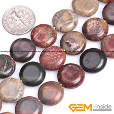 "Natural Picasso Jasper Gemstone Coin Flat Beads For Jewelry Making Strand 15"" YB"