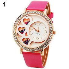 Nice Dfa Womens Round Dial Analog Crystals & Beads Decor Rose Wrist Watch B84U