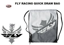 FLY RACING WHITE GREY Quick Draw String Back Pack Book Bag Athletic MX Racing