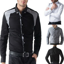 2013 New Style Splice Sexy Men's Slim Fit Tops Dress Comfy Formal Casual Shirts