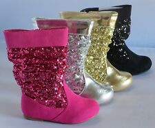 Girl Boots w/ Sequins (Sarago) TODDLER Dress Boots Sparkle Boots