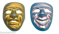 PLASTIC GOLD OR SILVER COMEDY AND TRAGEDY PLAY THEATRE MASQUERADE BALL FACE MASK