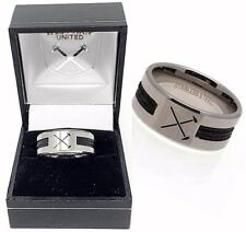 WEST HAM UNITED UTD FC  STAINLESS STEEL HAMMERS BLACK INLAY BAND RING GIFT BOXED