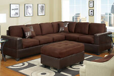 Sectional Sofa Couch Sectionals Sofas 2 Pc in Chocolate W Free Pillows Loveseat