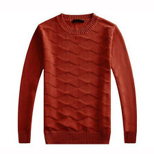 New Men's Thick Knit Tops Pullover Crewneck Diamond Pattern Sweater long-sleeved